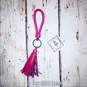 Accessories - BOGO Leather Tassle Bag Charm/Keychain :: Pink